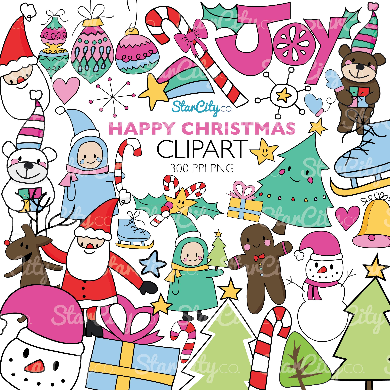 Hand Drawn Christmas Clip art graphics.