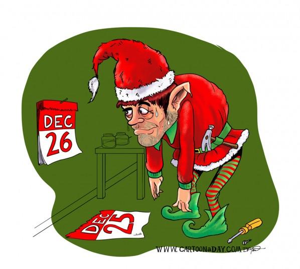 Day After Christmas Elf ❤ Cartoon « Cartoon A Day.