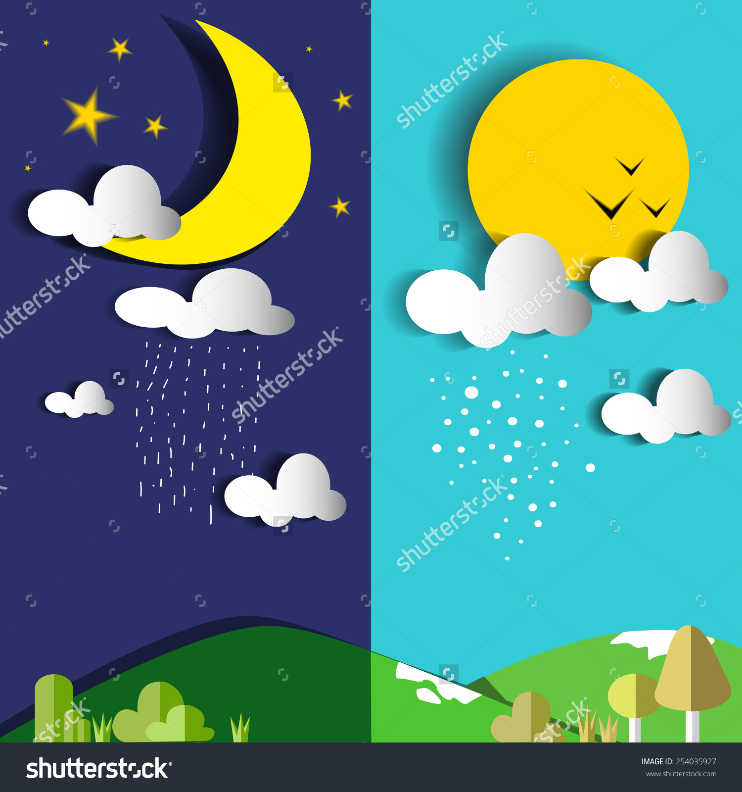 Day to night clipart.