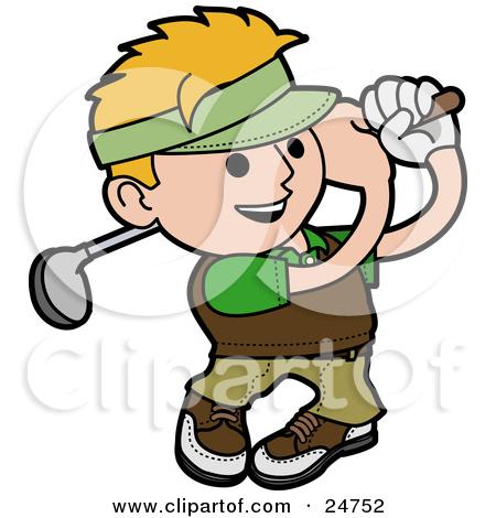 Clipart of a Gradient Green Man Golfing.