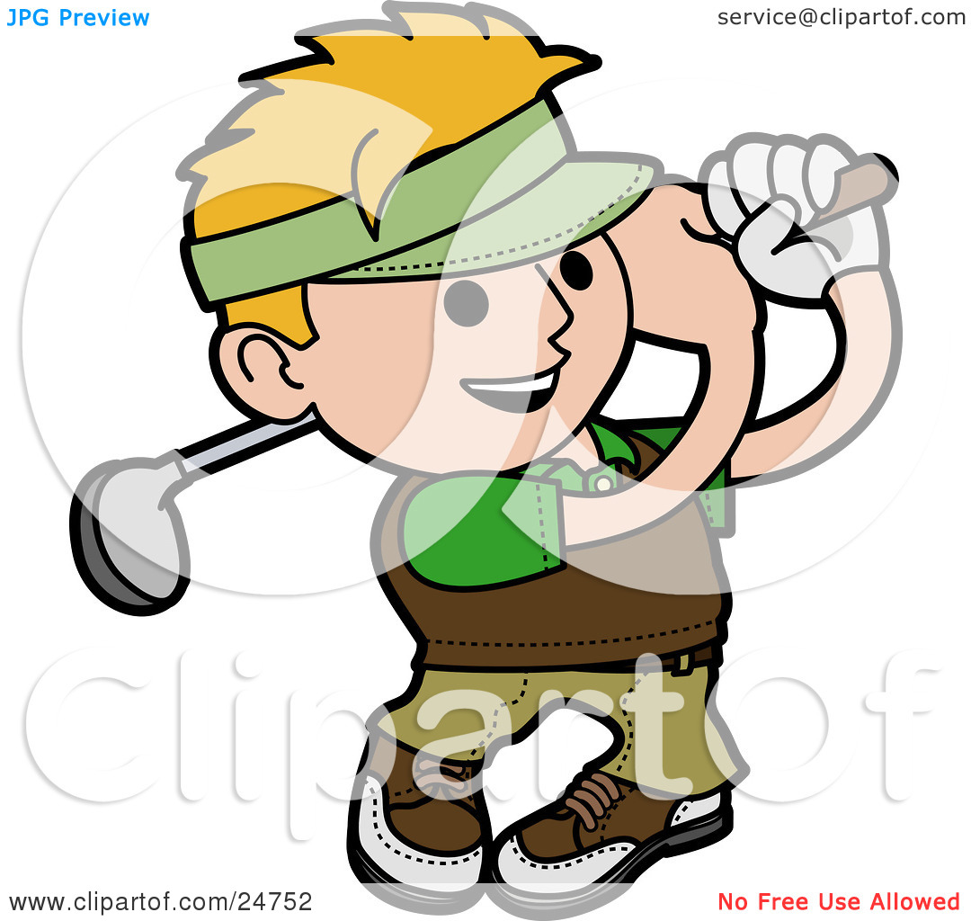 Clipart Illustration of a Blond Man Smiling While Swinging A Golf.