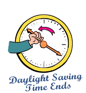 Transparent day light savings time clipart.