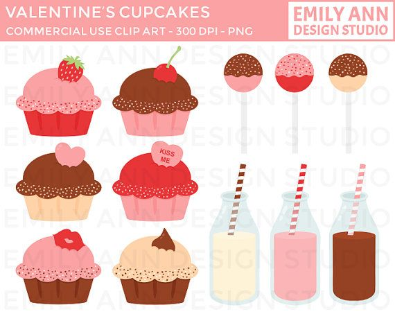 Valentine's Day Cupcakes Milk Cake Pops Cute Clip Art, Instant.