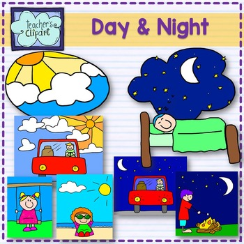 Day and night clipart.