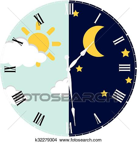 Clock day and night concept Clipart.