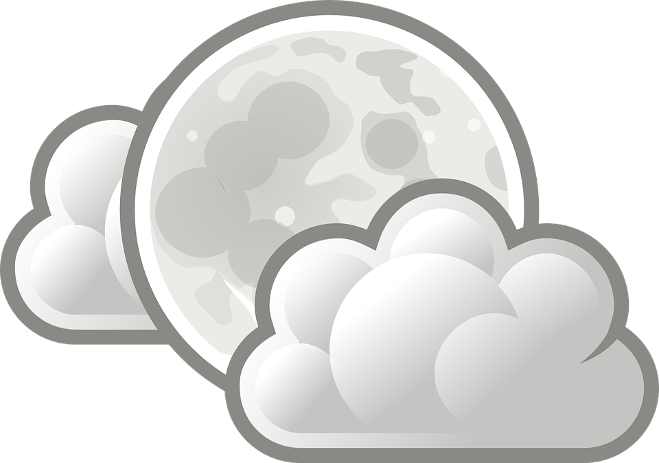 Free vector graphic: Moon, Full Moon, Cloudy, Clouds.