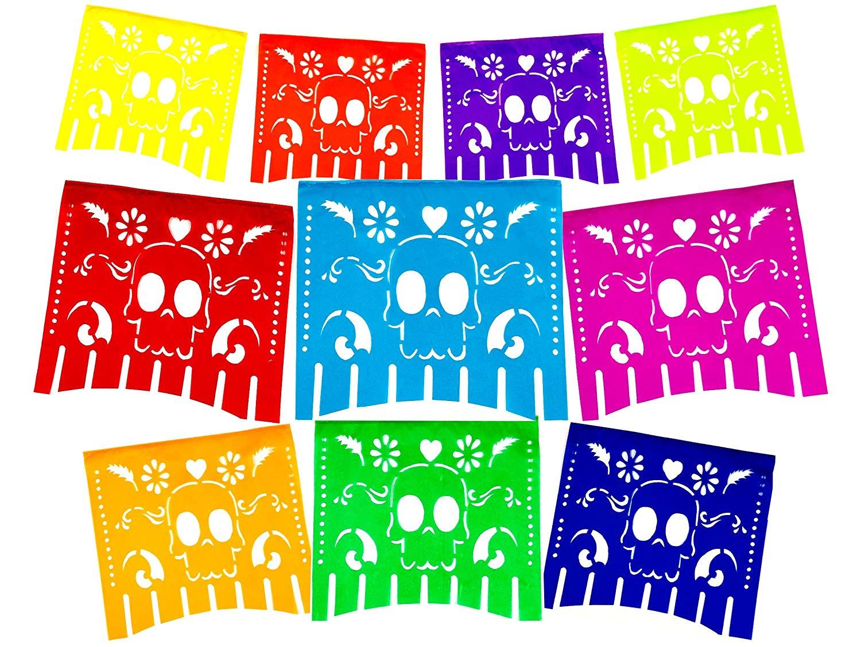 Fiesta Brands Mexican .Colors for The Dead Papel Picado Banner.Vibrant  Colors Tissue Paper. Large Size Panels. Multicolored Dia de Los Muertos  Sugar.