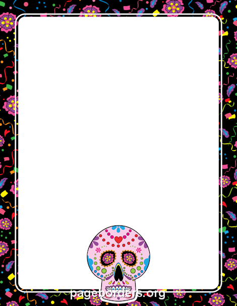 Day of the Dead Border: Clip Art, Page Border, and Vector Graphics.