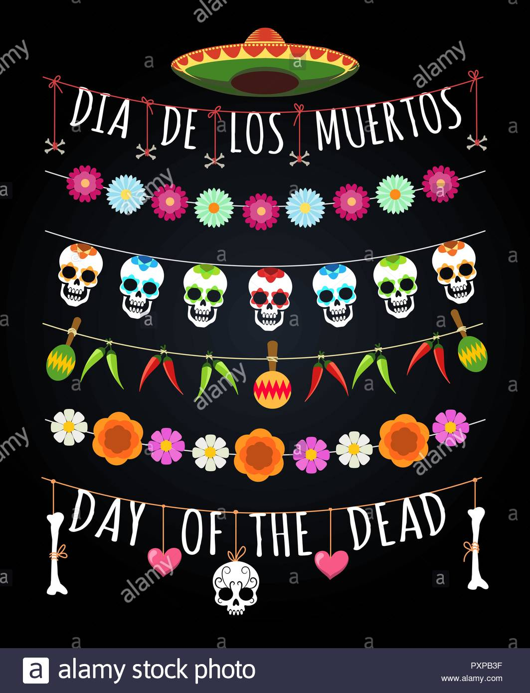 Dead day garlands. Mexican november deads feast borders isolated on.