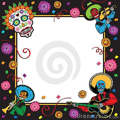 Day of the Dead party invite. I will use this as a border..