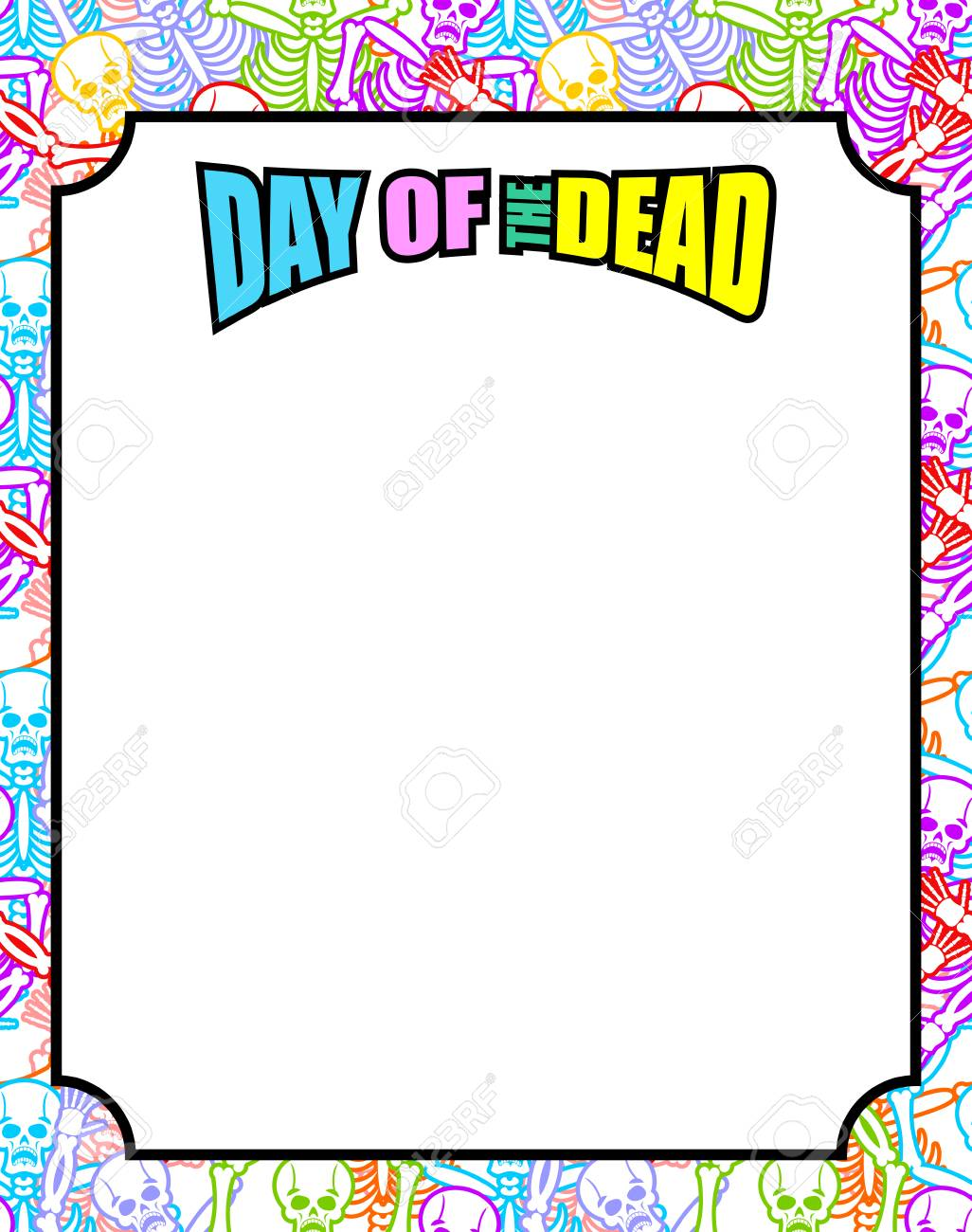 Frame for Day of the Dead. Multicolored skeletons. Color skull.