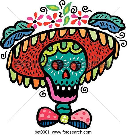 Clip Art of green and yellow skull bet0002.