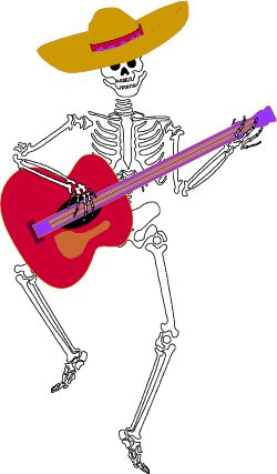 Dancing skeleton with guitar, day of the dead clip art.