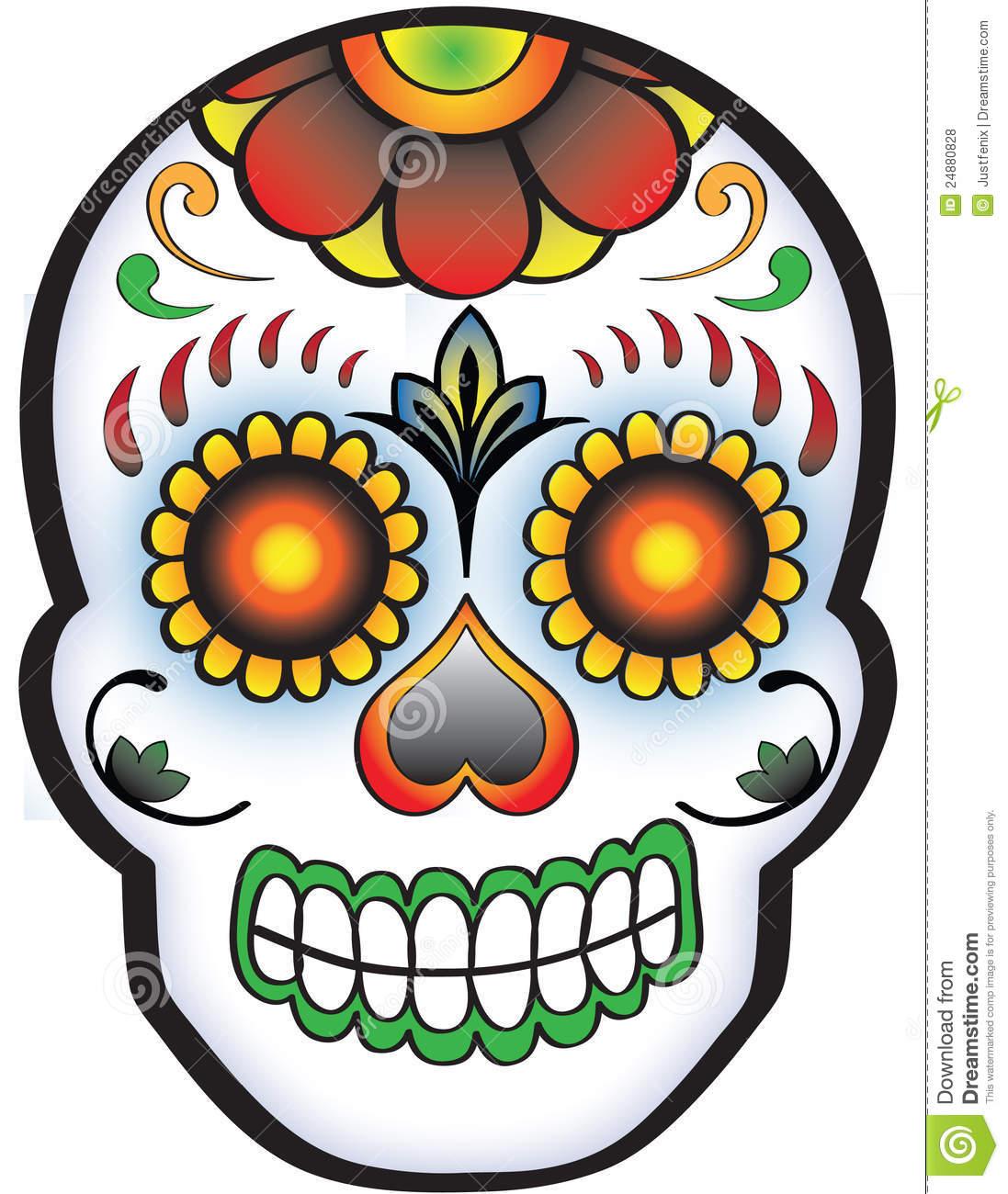 Sugar skull day of the dead clipart.