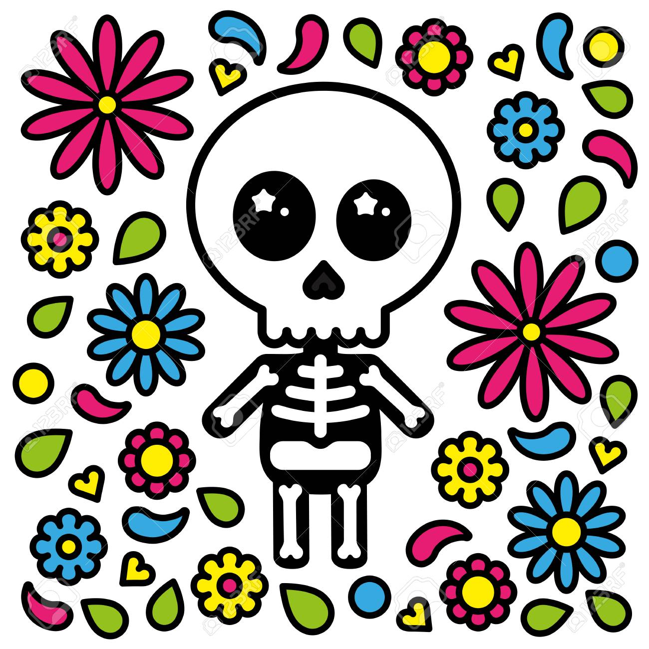 Cute skeleton character day of the dead flowers background.
