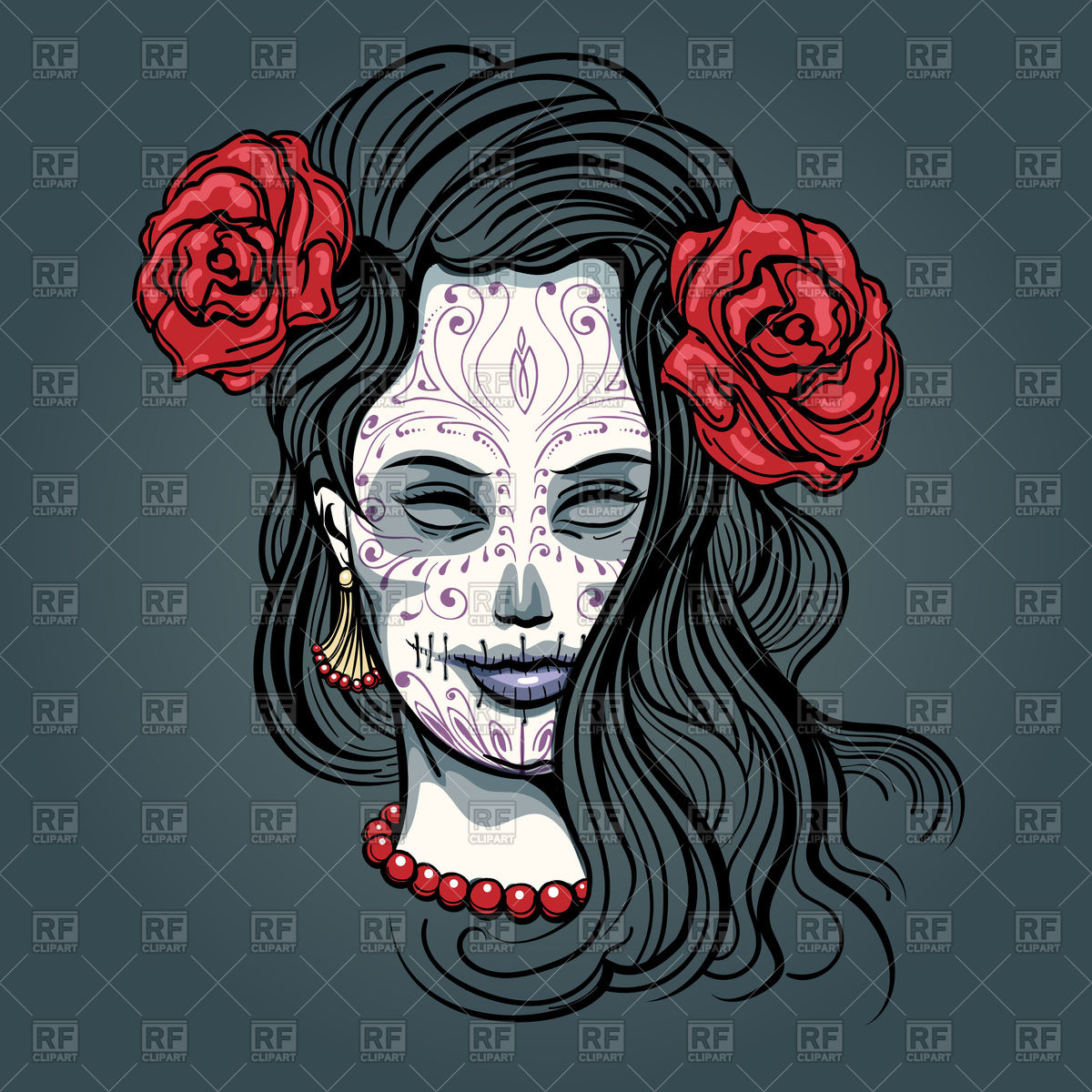 Day of the dead, girl face with sugar skull makeup Vector Image.