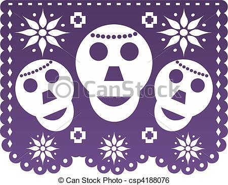 Stock Illustration of Dia de Muertos Papel picado csp4188076.