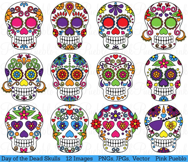 Day of the Dead Skull Clipart Clip Art, Sugar Skulls Clipart Clip Art  Vectors.