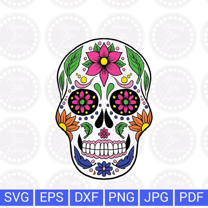 Sugar skull svg Day of the dead Skull svg Mexican skull svg Sugar skull  mask Sugar skull png Dia de los muertos Sugar skull clipart.