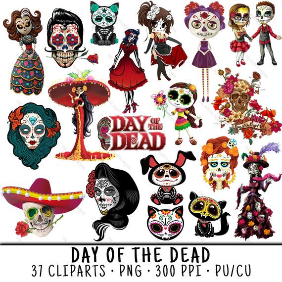 Day Of The Dead, Mexican Clipart, Skull Clipart, Day Of The Dead PNG, Dia  De Los Muertos, PNG Day Of The Dead, Sugar Skull PNG.