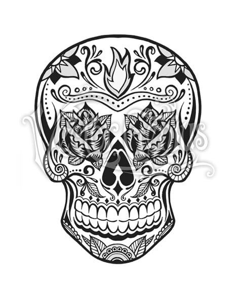 Sugar Skull Tattoo Day of the Dead ClipArt.