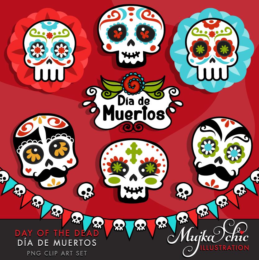 Day of the dead Sugar Skulls Clipart.