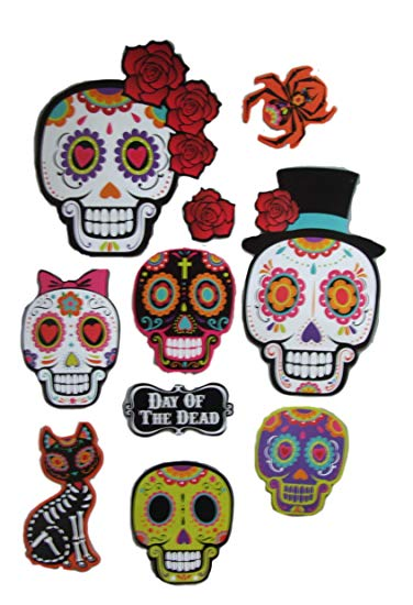 Sugar Skull Day of the Dead Party Decorations Includes 10 Cutouts.