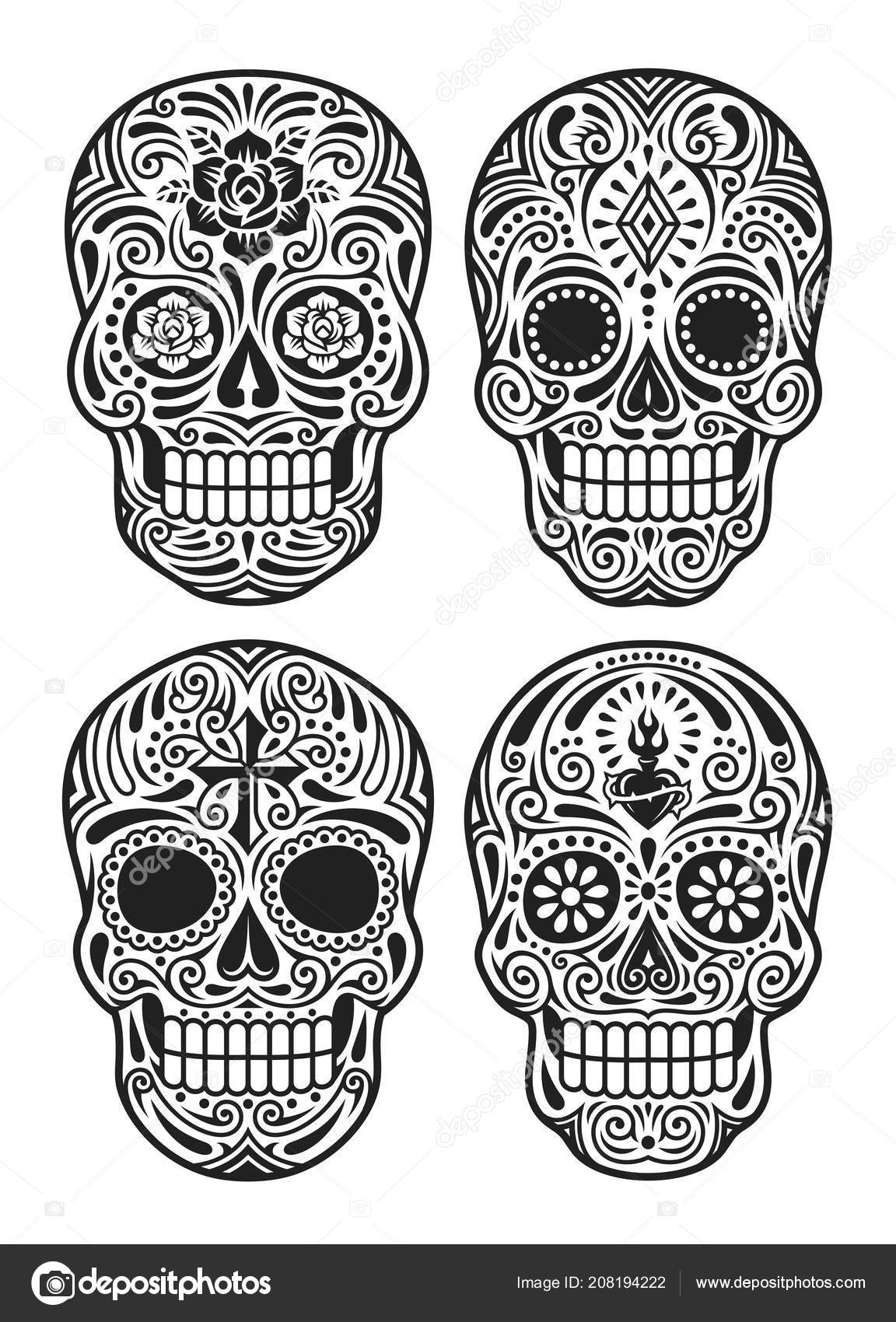 Day of the dead clip art black and white.