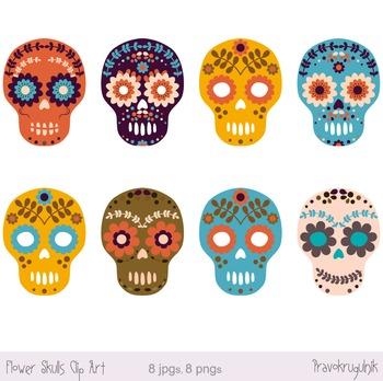 Sugar Skull Clipart, Day of the Dead Clip Art, Halloween Flower Skulls.