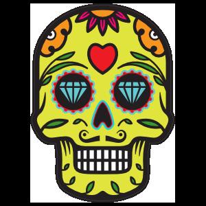 Diamond Eyes Day of the Dead Skull Sticker.