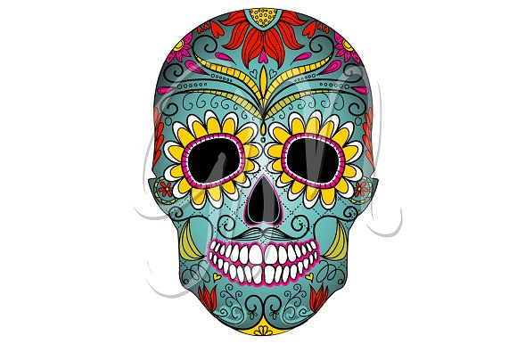 Sugar Skull Day of the Dead Clip Art.