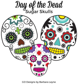 12 Sugar Skulls Clipart, Day of the Dead Clipart, Color and Black Line.