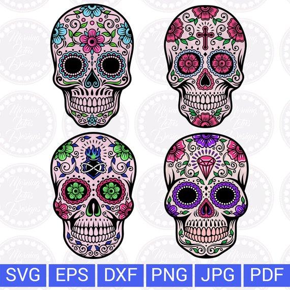 Sugar skull svg Day of the dead Skull svg Mexican skull svg Sugar.
