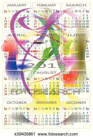 CALENDAR 2019 color days specific for each day of the week Clipart.