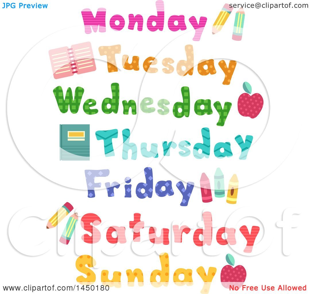 Clipart Graphic of Day of the Week Designs with School Items.
