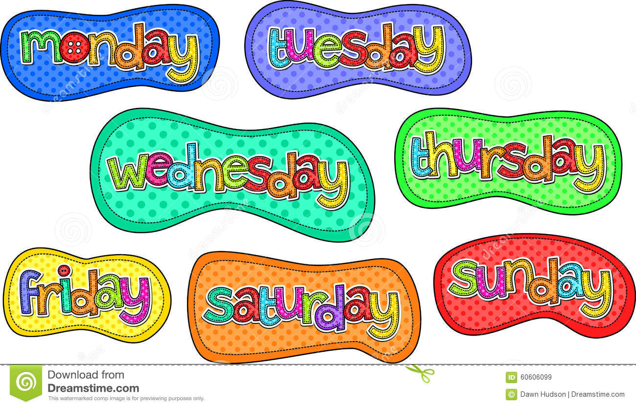 Days Of The Week Stitch Text Labels Stock Illustration.