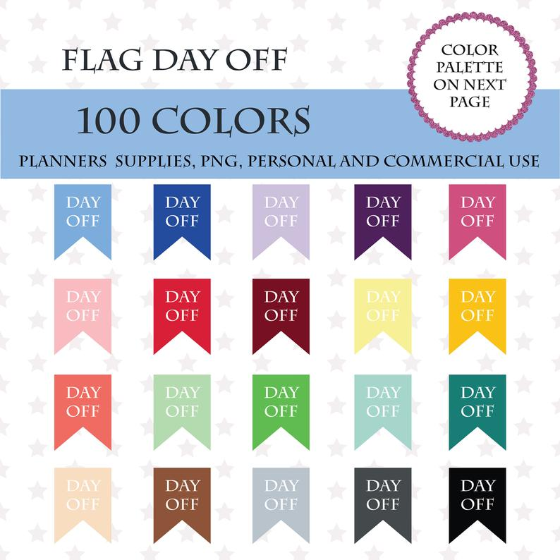 100 Colors Clip Art, 100 Flags Day Off Clipart, Day Off Banner art, Bunting  clip art, Cute rainbow day off banners, PL112.