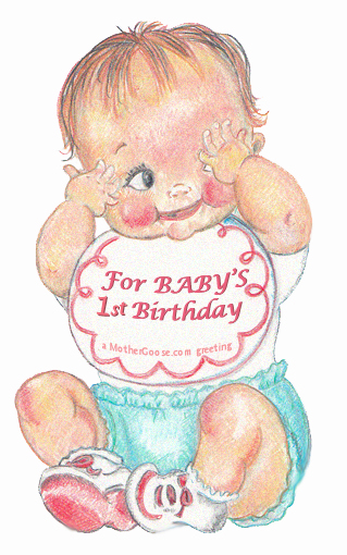 Happy Birthday One Year Old Baby! greeting Clip Art.