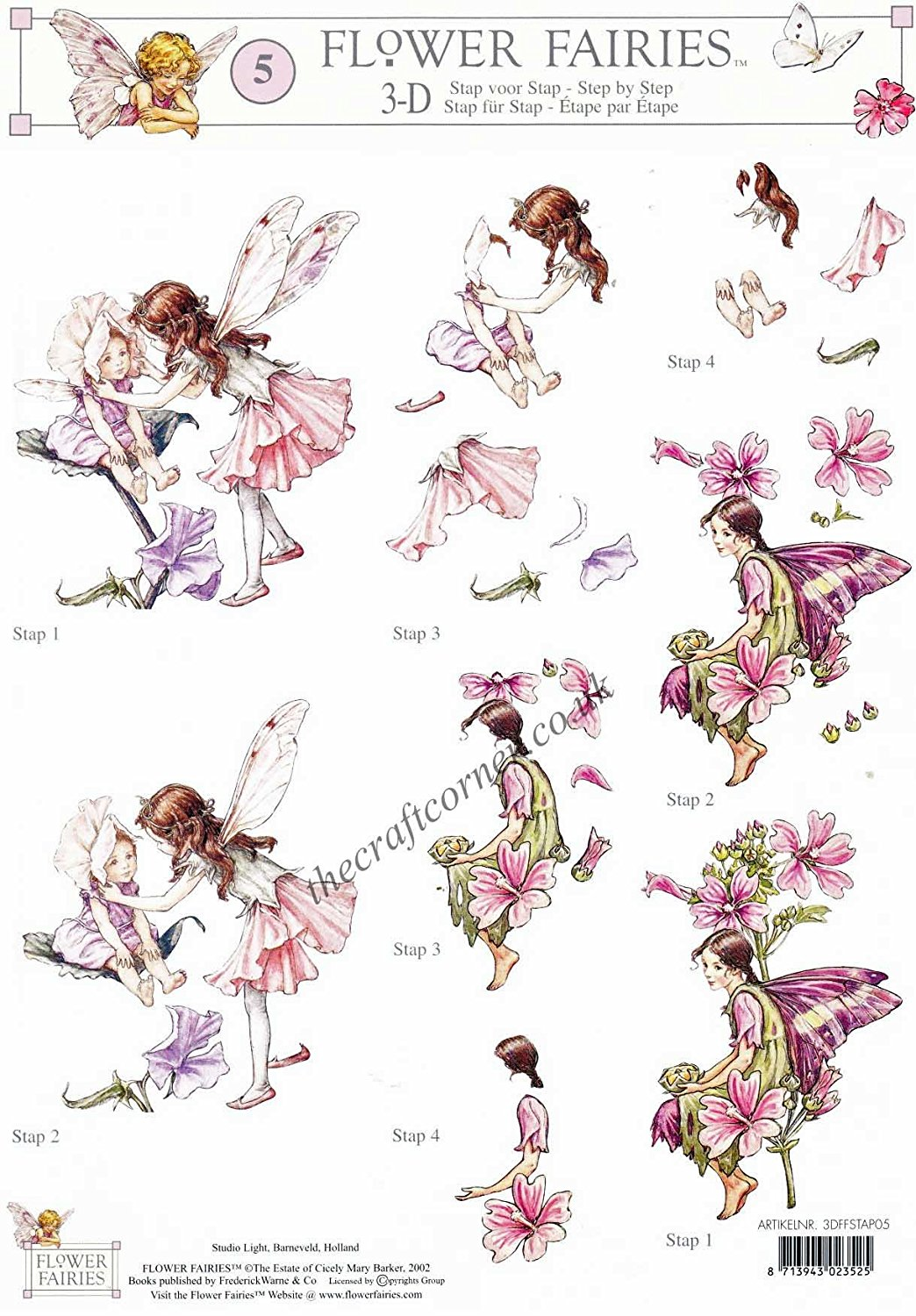 Flower Fairies 14 Red Campion, Rose & Tulip Fairies by Cicely Mary.
