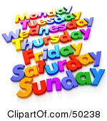 Free letter clipart week days.