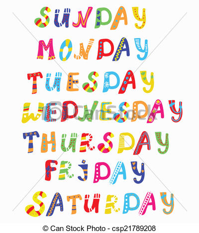 Days of the week clip art.