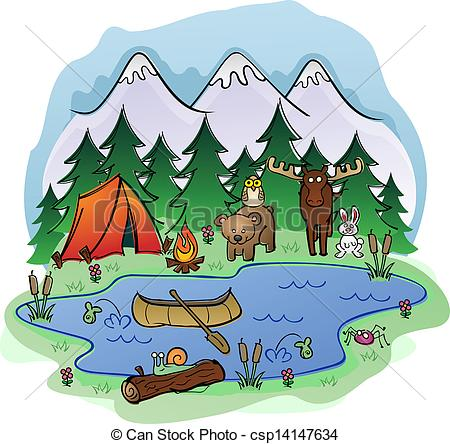 Summer Mountain Scenes Clipart.
