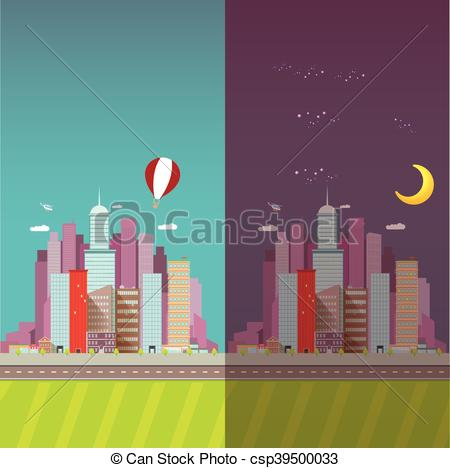 Vectors of vector day and night city skyline flat modern style.