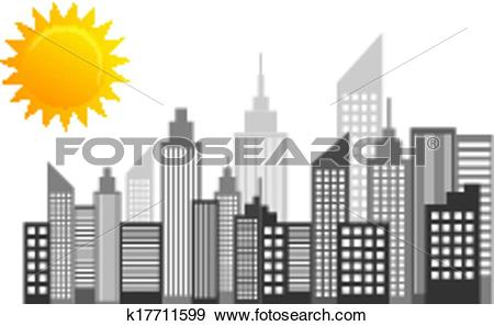 Clip Art of City Skyscrapers Skyline On Sun Day k17711599.