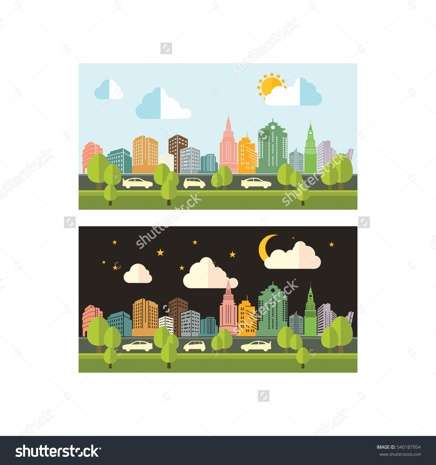 Day Night Traffic Activity City Skyline Stock Vector 540187954.