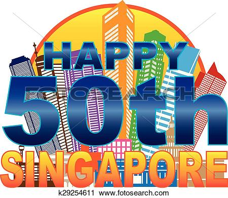 Clipart of Singapore 50th National Day Skyline Circle Color.