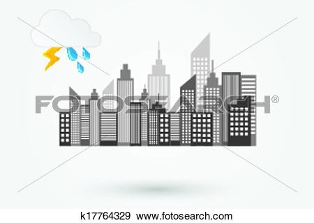 Clip Art of City Skyline On Rainy Day k17764329.