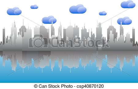 Vector Illustration of cityscape skyline on cloudy day.