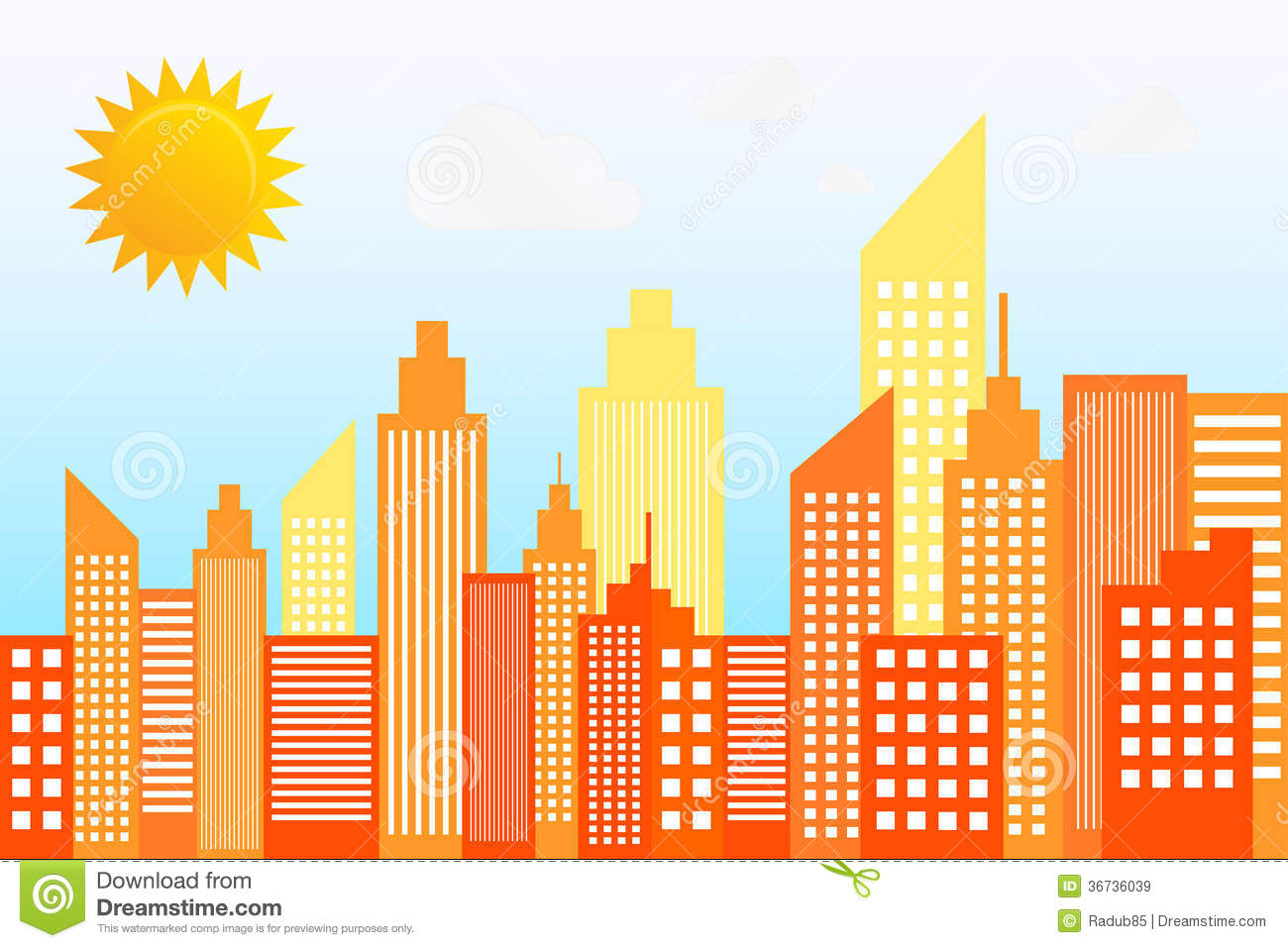 Modern City Skyscrapers Skyline Silhouette Stock Vector.