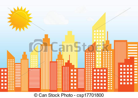 Vector Clipart of Modern City Skyscrapers Skyline On Sunny Day.
